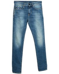 Saint Laurent Indigo Faded Effect Denim Skinny Jeans - Blue