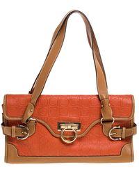 Ferragamo Orange/tan Leather Flap Satchel