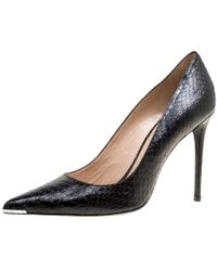 Barbara Bui - Black Elaphe Leather Metal Pointed Toe Pumps Size 41 - Lyst