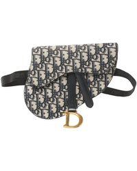 Dior Blue Oblique Canvas And Leather Saddle Belt Bag