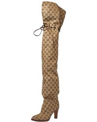 Gucci Beige GG Canvas Lisa Thigh High Boots - Natural