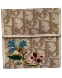 Dior Multicolour Embroidered Issimo Coated Canvas Flap Compact Wallet - Natural