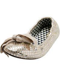 Isabel Marant Metallic Gold Foil Suede Rilla Bow Scrunch Ballet Flats