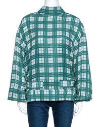 JOSEPH Green Canvas Check Silk Royce Lightweight Jacket