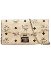MCM White Visetos Coated Canvas Patricia Wallet On Chain - Natural