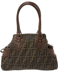 Fendi Brown Canvas And Leather Small Zucca Chef De Jour Bag