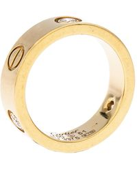 Cartier Love 3 Diamond 18k Yellow Gold Band Ring Size 51 - Metallic