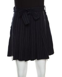 Dior Christian Dior Boutique Navy Blue Striped Wool Pleated Mini Skirt M