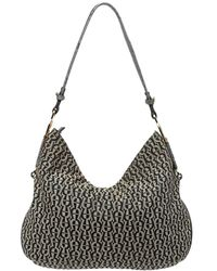Aigner Grey/black Signature Canvas And Leather Hobo - Gray
