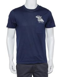 Louis Vuitton Navy Blue Cotton Applique Detail Crewneck T-shirt