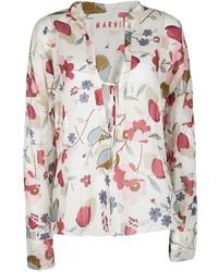 Marni - Floral Printed Cotton Long Sleeve Blouse S - Lyst