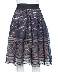 Self-Portrait Navy Blue Guipure Lace Pleated Sofia Skirt