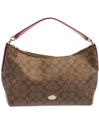 COACH Beige/fuchsia Signature Coated Canvas And Leather Shoulder Bag - Natural