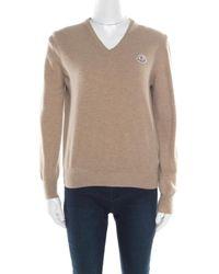 Moncler Beige Wool V-neck Sweater - Natural