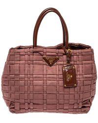 Prada Old Rose Pink/brown Tesutto Nylon Woven Tote