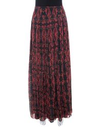Alice + Olivia Red Romantic Butterfly Print Chiffon Pleated Maxi Skirt