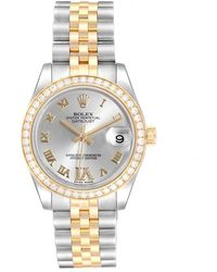 Rolex - Silver 18k Yellow Gold Diamond And Stainless Steel Datejust 178383 Women's Wristwatch 31mm - Lyst