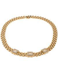 Chopard Vintage Happy Diamond 18k Yellow Gold Choker Necklace - Metallic