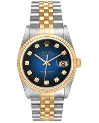 Rolex Blue Diamonds 18k Yellow Gold And Stainless Steel Datejust 16233 Wristwatch 36 Mm