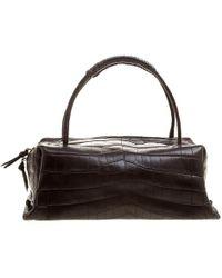 Bottega Veneta Brown Crocodile Montaigne Satchel Bag