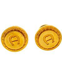 Aigner Logo Gold Tone Cufflinks - Metallic