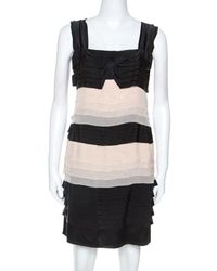 Philosophy di Alberta Ferretti - Black And Cream Chiffon Tiered Dress - Lyst