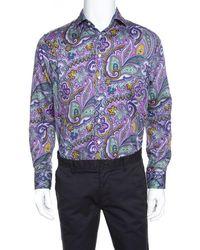 Etro - Purple Cotton Paisley Printed Button Front Shirt L - Lyst