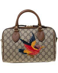 396d9739 Beige/brown GG Supreme Canvas Limited Edition Bird Boston Bag - Natural