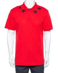 Givenchy Red Cotton Pique Star Embroidered Polo T Shirt