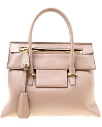 Tom Ford Beige Leather Icon Top Handle Bag - Natural