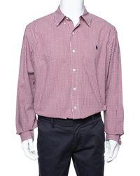 Ralph Lauren Red Gingham Check Cotton Long Sleeve Shirt