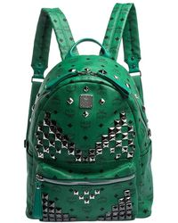 MCM Green Coated Canvas And Leather Large Studs Stark Backpack
