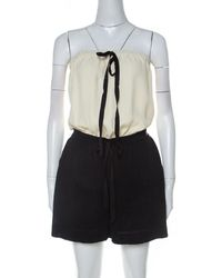 Chanel Monochrome Linen And Silk Strapless Romper M - Black