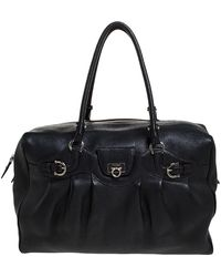 Ferragamo Black Leather Satchel