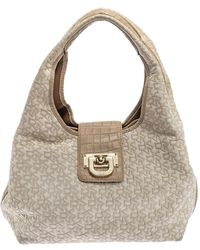 DKNY Beige/off White Signature Fabric And Croc Embossed Leather Flap Hobo - Natural