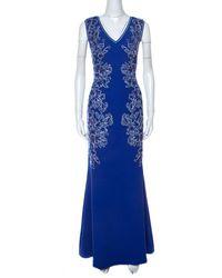 Tadashi Shoji Blue Embroidered Applique V-neck Matelasse Gown