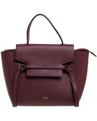 Celine Burgundy Leather Nano Belt Top Handle Bag - Purple