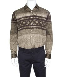 Etro - Brown Cotton Digital Rope Printed Button Down Shirt L - Lyst