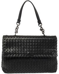 Bottega Veneta Black Intrecciato Leather Olimpia Shoulder Bag