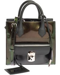 Balenciaga Iridescent Green Patent And Leather Padlock Mini All Afternoon Tote