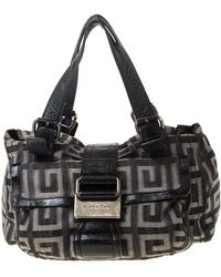 Givenchy - Grey/black Signature Canvas And Leather Boston Bag - Lyst