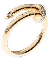 Cartier Juste Un Clou Diamond & 18k Yellow Gold Ring 54 - Metallic