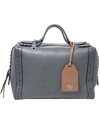 Tod's Gray Leather Medium Don Bauletto Gommino Bag