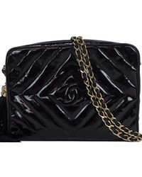 Chanel - Quilted Patent Leather Tassel Shoulder Bag - Lyst