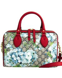 Gucci Red Canvas Leather GG Supreme Blooms Medium Boston Bag