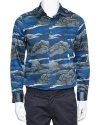 KENZO Blue Night Cloud Print Cotton Long Sleeve Slim Fit Shirt