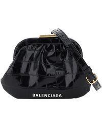 Balenciaga Black Croc Embossed Leather Cloud Coin Purse Clutch Bag