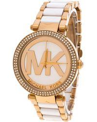 Michael Kors - Dial Yellow Gold Plated Acetate Parker Mk6313 Women's Wristwatch 39 Mm - Lyst