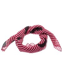 Dior Red And White Striped Printed Silk Square Scarf