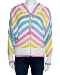 Chanel Multicolour Striped Cashmere Knit Hooded Sweatshirt S